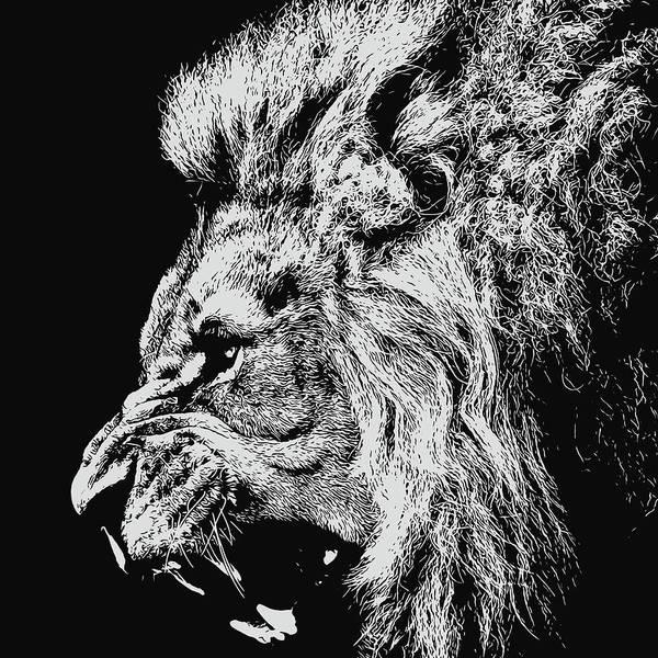 Painting - Lion Roaring - Monochrome Portrait by Andrea Mazzocchetti