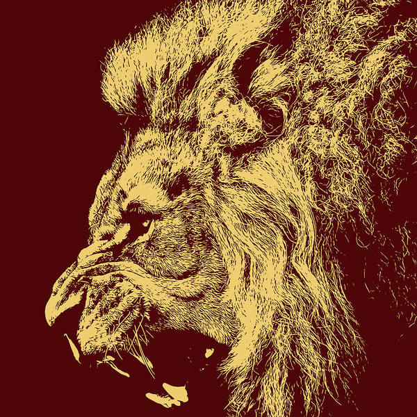 Painting - Lion Roaring - Yellow Portrait by Andrea Mazzocchetti