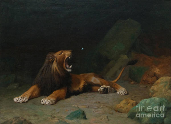 Snapping Wall Art - Painting - Lion Snapping At A Butterfly by MotionAge Designs