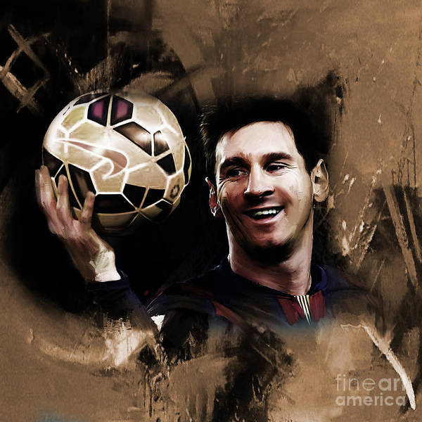 Super Cup Wall Art - Painting - Lionel Messi 032a by Gull G