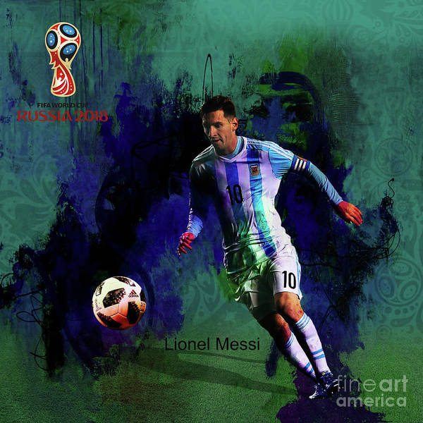 Super Cup Wall Art - Painting - Lionel Messi 2018 World Cup  by Gull G
