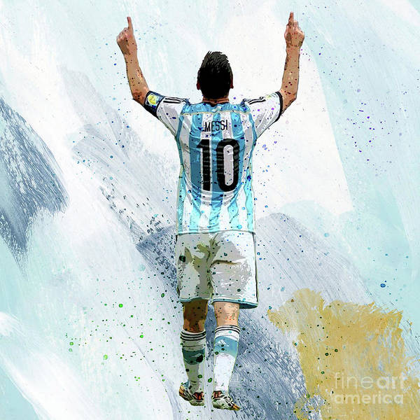 Super Cup Wall Art - Painting - Lionel Messi 92ui by Gull G