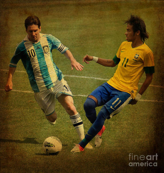 Super Cup Wall Art - Photograph - Lionel Messi And Neymar Junior Vintage Photo by Lee Dos Santos