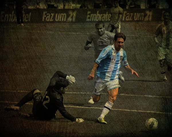 Wall Art - Photograph - Lionel Messi Breaking Raphael Cabrals Ankles  by Lee Dos Santos