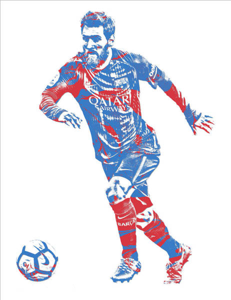 Wall Art - Mixed Media - Lionel Messi F C Barcelona Argentina Pixel Art 1 by Joe Hamilton