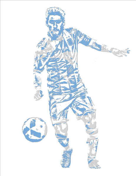 Uefa Wall Art - Mixed Media - Lionel Messi F C Barcelona Argentina Pixel Art 3 by Joe Hamilton