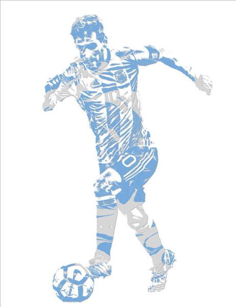 Uefa Wall Art - Mixed Media - Lionel Messi F C Barcelona Argentina Pixel Art 4 by Joe Hamilton