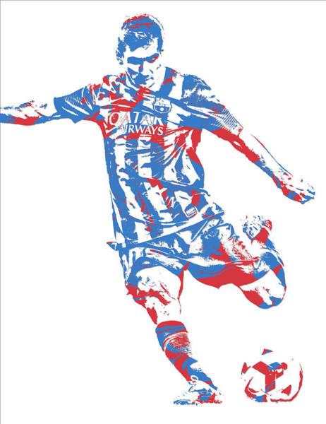 Uefa Wall Art - Mixed Media - Lionel Messi F C Barcelona Argentina Pixel Art 6 by Joe Hamilton