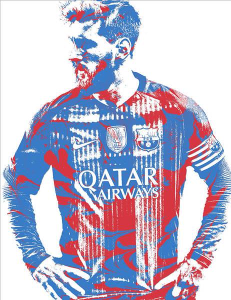 Uefa Wall Art - Mixed Media - Lionel Messi F C Barcelona Argentina Pixel Art 7 by Joe Hamilton