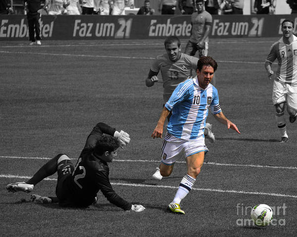 Goliath Photograph - Lionel Messi The King by Lee Dos Santos