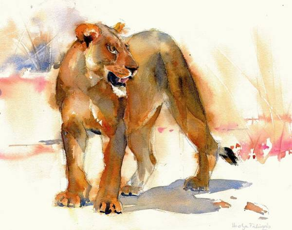 Food Chain Painting - Lioness Colour Version 2 by Ibolya Taligas