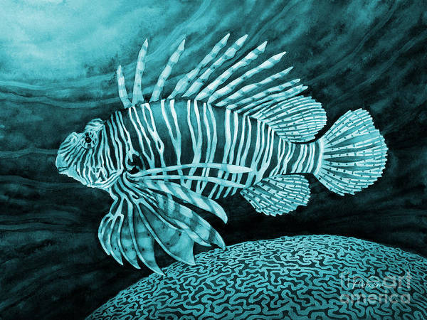 Wall Art - Painting - Lionfish On Blue by Hailey E Herrera