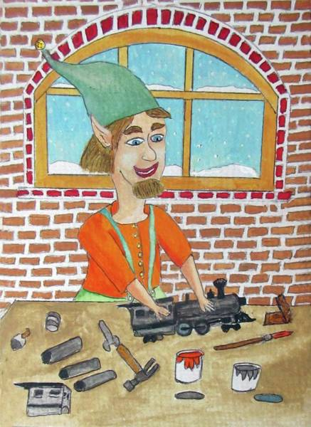 Model Trains Painting - Lionle The Train Maker Elf by Gordon Wendling
