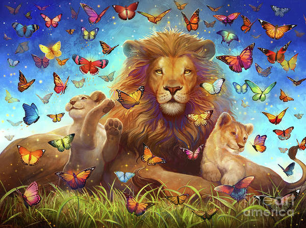 Wall Art - Digital Art - Lions And Butterflies by MGL Meiklejohn Graphics Licensing