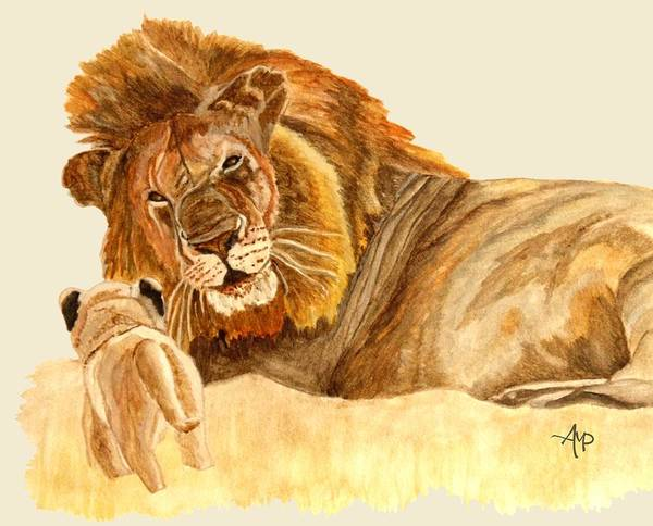 Painting - Lions by Angeles M Pomata