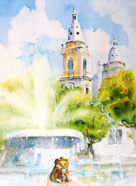 Square Tower Painting - Lions Fountain Plaza Las Delicias  Ponce Cathedral Puerto Rico by Carlin Blahnik CarlinArtWatercolor