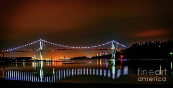Canada Wall Art - Photograph - Lions Gate Bridge At Night 1 by Viktor Birkus