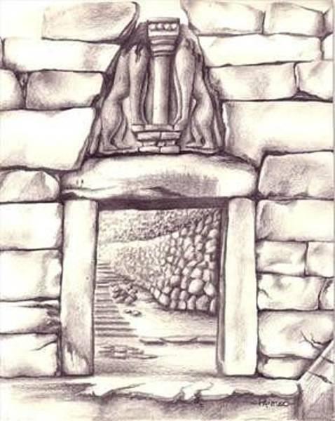 Peloponnese Painting - Lion's Gate by Pamela Pantuso