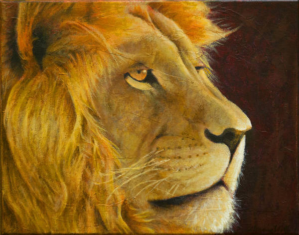 Painting - Lion's Gaze by Kevin Chasing Wolf Hutchins