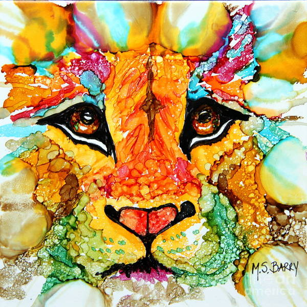 Wall Art - Painting - Lion's Head Gold by Maria Barry