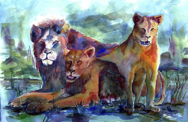 Painting - Lion's Play by Joan Chlarson