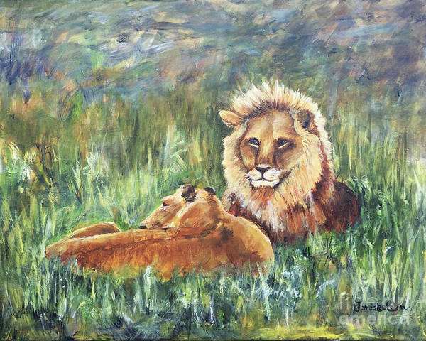 Painting - Lions Resting by Janis Lee Colon