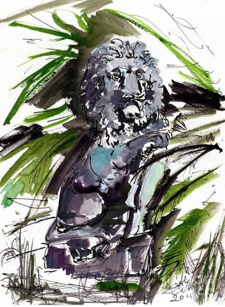 Painting - Lions Staue Of Jekyll Island Georgia by Ginette Callaway