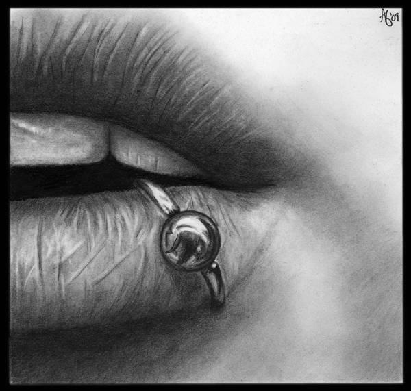 Lip Piercing Wall Art - Drawing - Lip Pierced by Alycia Ryan