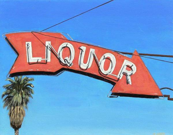 Neon Sign Painting - Liquor Arrow Number 2 by Michael Ward