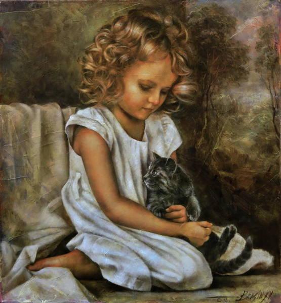 Wall Art - Painting - Lisa With A Cat by Arthur Braginsky