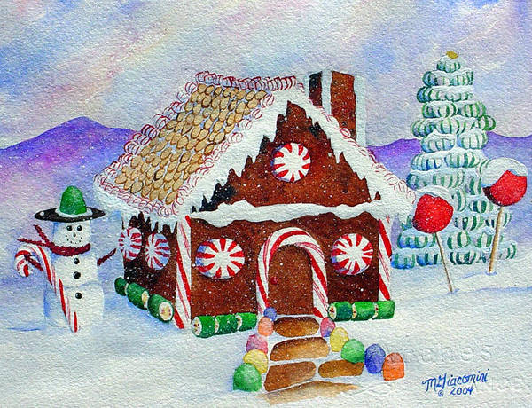 Painting - Lisa's Gingerbread House by Mary Giacomini