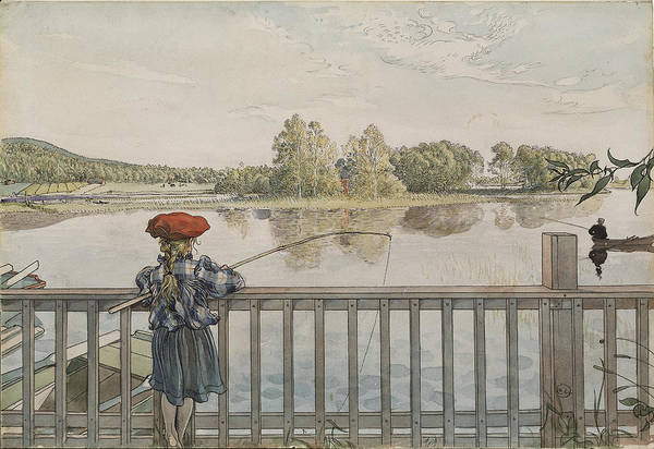 Angling Art Wall Art - Drawing - Lisbeth Angling. From A Home by Carl Larsson
