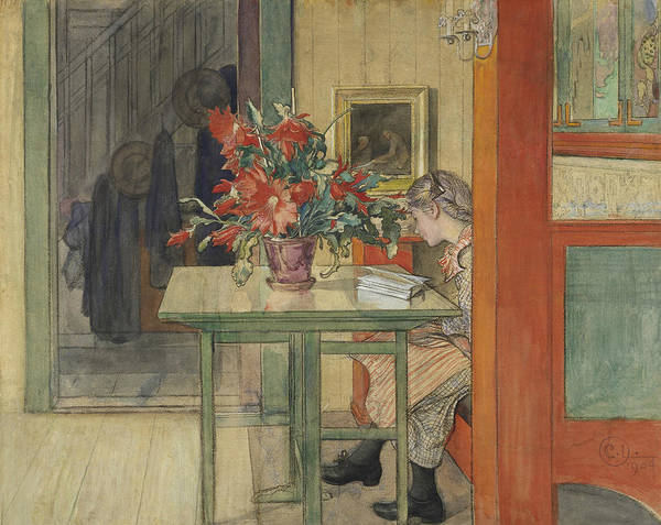Wall Art - Painting - Lisbeth Reading by Carl Larsson