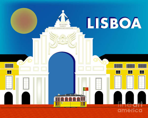 Lisbon Digital Art - Lisboa Lisbon Portugal Horizontal Scene by Karen Young