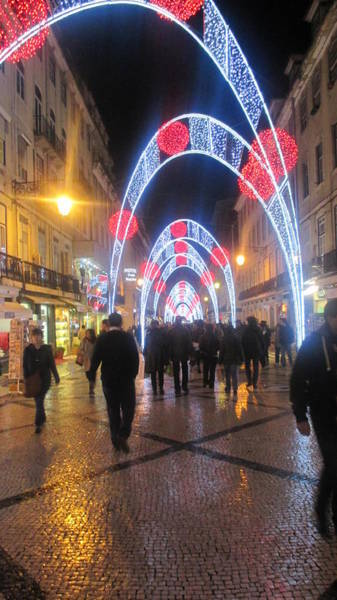 Detail Photograph - Lisbon By Night With New Year Decorations by Anamarija Marinovic