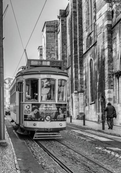 Photograph - Lisbon City Tram In Mono by Georgia Fowler