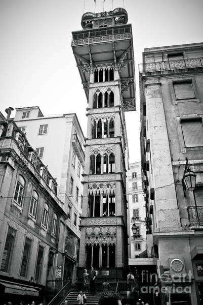 Photograph - Lisbon - Portugal - Elevador De Santa Justa - Black And White by Carlos Alkmin