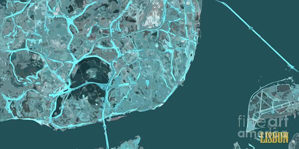 Lisbon Digital Art - Lisbon, Portugal, Map, Abstract, Blue by Drawspots Illustrations