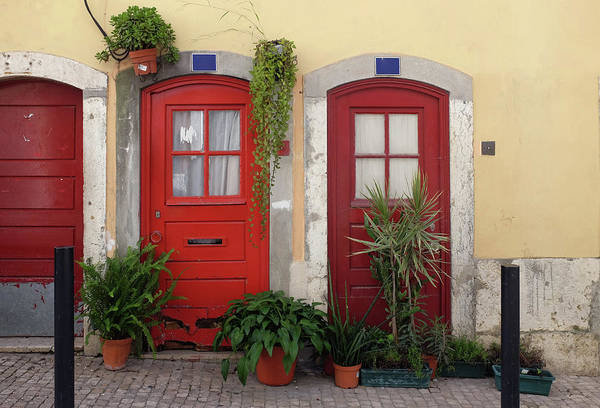 Architectural Details Photograph - Lisbon Red Doors by Carlos Caetano