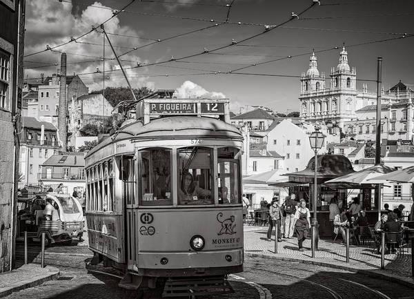 Photograph - Lisbon Tram Bw by Joan Carroll