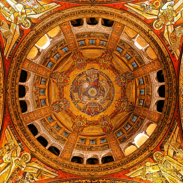 Wall Art - Photograph - Lisieux St Therese Basilica Dome Ceiling by Olivier Le Queinec