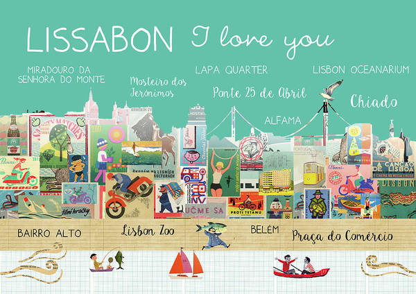 Lissabon I Love You Art Print