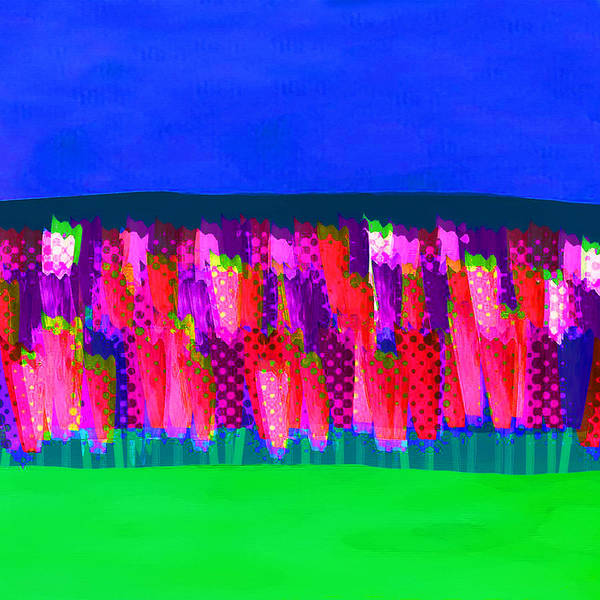 Tulipan Painting - Lisse - Tulips Pink On Blue by Joost Hogervorst