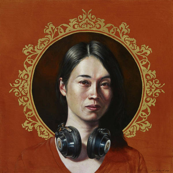 Chinese Girl Painting - Listen 35 by Brent Schreiber