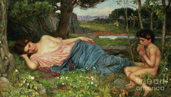 Wall Art - Painting - Listen To My Sweet Pipings by John William Waterhouse