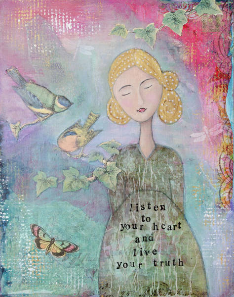 Teal Mixed Media - Listen To Your Heart by Margaret Goodwin