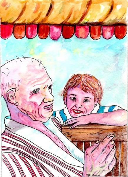 Listening To Grandpas Endless Funny Stories Art Print