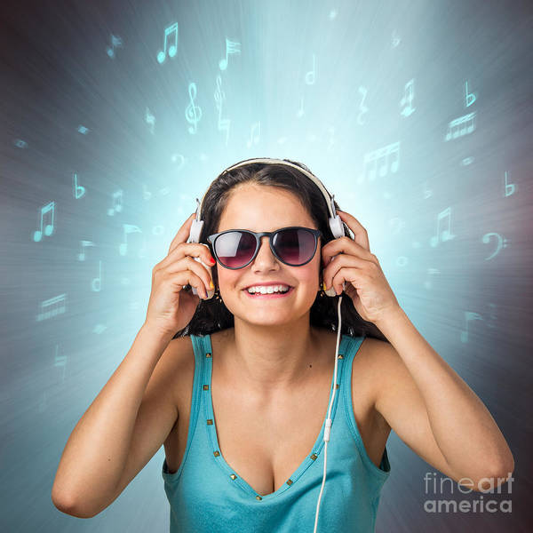 Wall Art - Photograph - Listening With Headset by Carlos Caetano