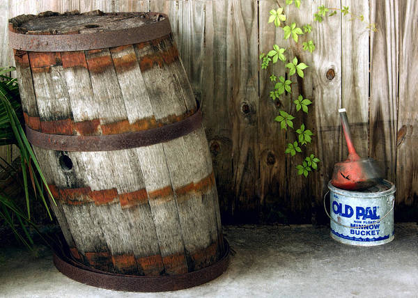 The Keg Photograph - Listing To Port - Barrel And Old Pal Minnow Bucket by Mitch Spence