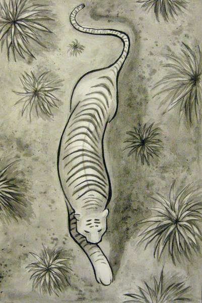 White Tiger Drawing - Lithe by Jaymi Krystowiak